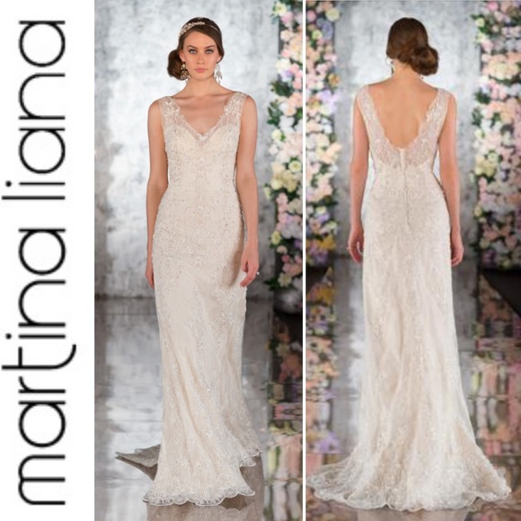 Martina Liana 527 Ivory Silk Lace Wedding Gown